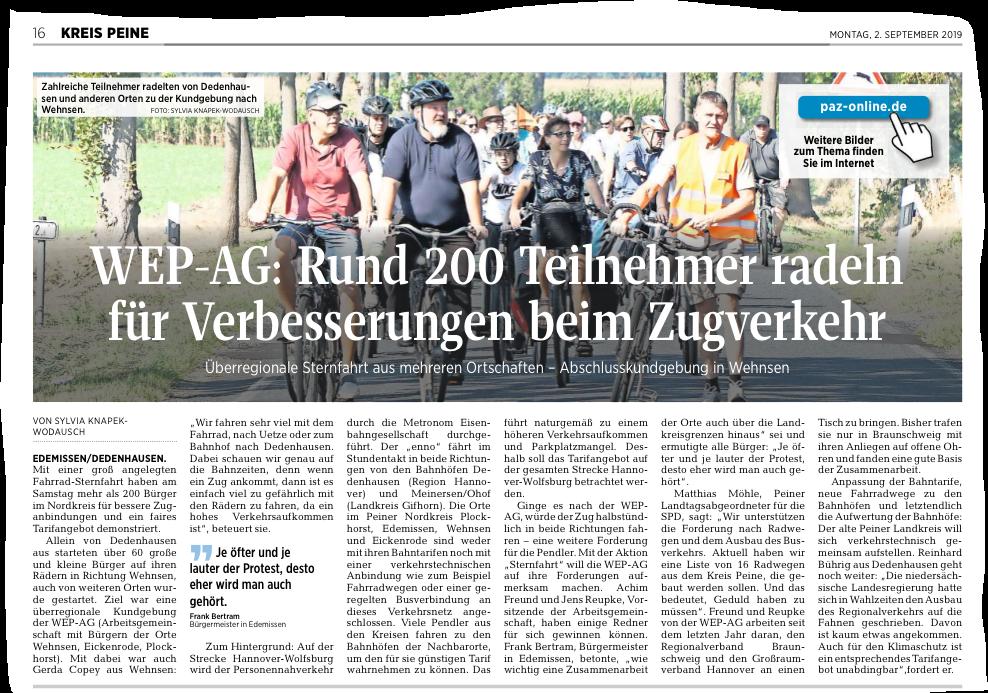 Peiner Allgemeine Zeitung 02.09.2019 Sternfahrt