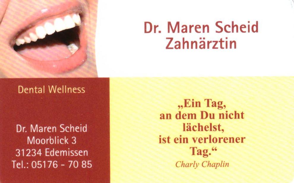 Dr. Maren Scheid, Moorblick 3, 31234 Edemissen