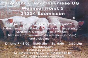 Homanns Hoferzeugnisse UG, Wehnser Horst 5, 31234 Edemissen